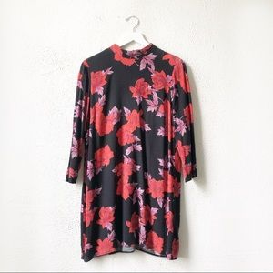 Zara | Red Floral Print Long Sleeve Dress Size XL